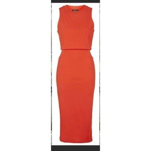 Topshop Orange Dress cutout sides